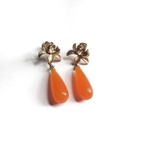 Floral Orange Drop Big Earrings